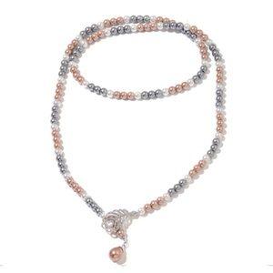 Multi Color Pearl, Multi Gemstone Lariat Necklace